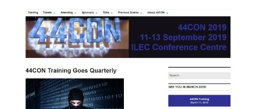 44CON London is a technical IT security conference that offers three days of  training sessions followed by a two day expo hall. 5295b40bd75a