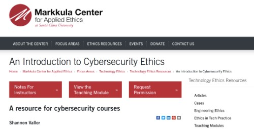 An Introduction to Cybersecurity Ethics Class via Markkula Center for Applied Ethics