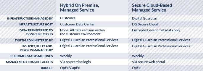 hybrid managed service table