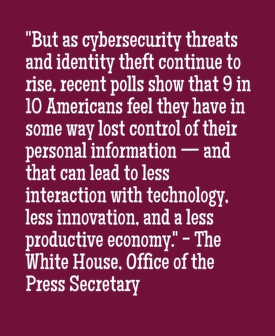 But as cybersecurity threats and identity theft continue to rise, recent polls show that 9 in 10 Americans feel they have in some way lost control of their personal information — and that can lead to less interaction with technology, less innovation, and a less productive economy.